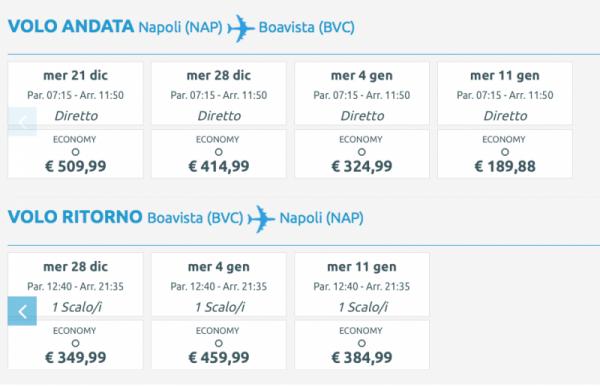 tariffe nuovo volo Neos da Napoli per Boavista Capoverde